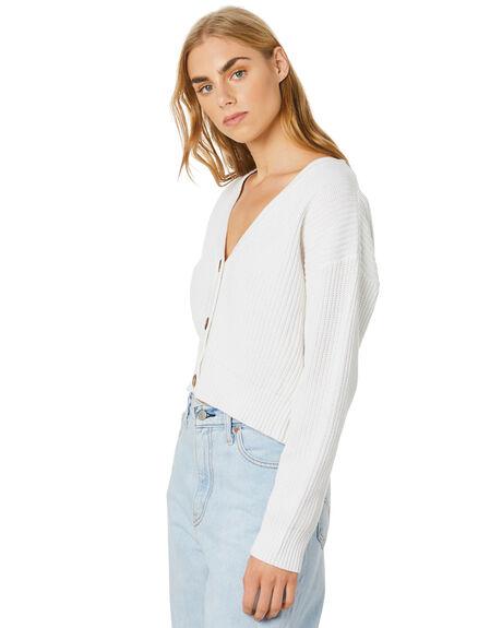 WHITE WOMENS CLOTHING STUSSY KNITS + CARDIGANS - ST106305WHITE