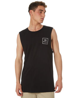 BLACK MENS CLOTHING RVCA SINGLETS - R151012ABLK