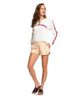 IVORY CREAM WOMENS CLOTHING ROXY SHORTS - ERJNS03185-TFM0