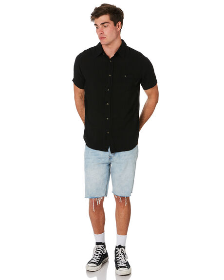 BLACK MENS CLOTHING RUSTY SHIRTS - WSM0834BLK
