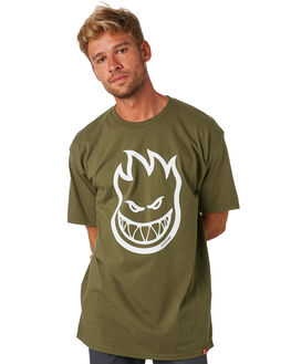 MILITARY GREEN WHITE MENS CLOTHING SPITFIRE TEES - 51010001FUGRNWH