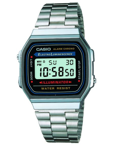 SILVER MENS ACCESSORIES CASIO WATCHES - A168WA-1SIL
