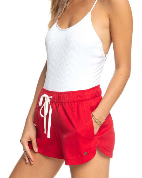 BRIGHT WHITE ENGRAVE WOMENS CLOTHING ROXY SHORTS - ERJNS03266-RQM0