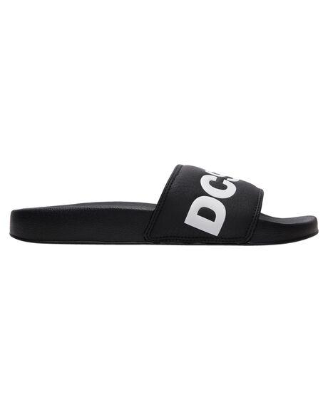 BLACK WHITE MENS FOOTWEAR DC SHOES SLIDES - ADYL100043-BKW