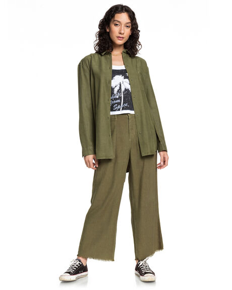 BURNT OLIVE WOMENS CLOTHING QUIKSILVER PANTS - EQWNP03008-GPZ0