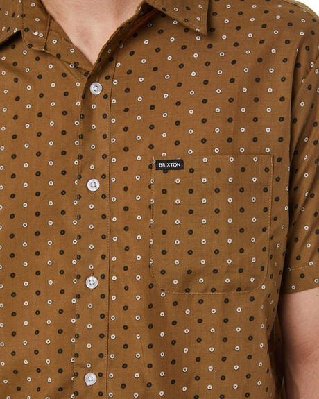 DRAB OLIVE MENS CLOTHING BRIXTON SHIRTS - 01218DBOLV