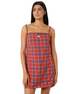 RED CHECK WOMENS CLOTHING STUSSY DRESSES - ST183506RED