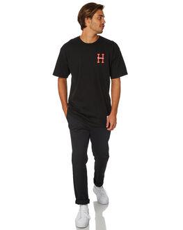 BLACK MENS CLOTHING HUF TEES - TS00743-BLACK