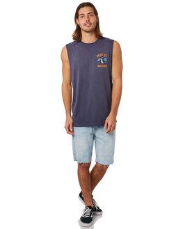 NAVY MENS CLOTHING DEUS EX MACHINA SINGLETS - DMS81663NVY