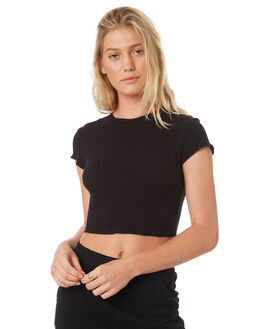 BLACK WOMENS CLOTHING NUDE LUCY TEES - NU23454BLK