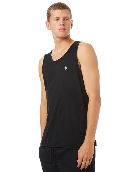 BLACK MENS CLOTHING AFENDS SINGLETS - 03-01-104BLK