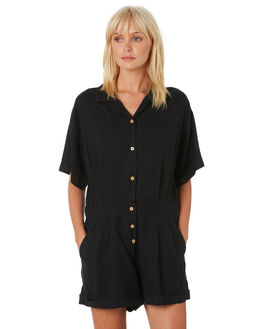 WASHED BLACK WOMENS CLOTHING THRILLS PLAYSUITS + OVERALLS - WTH9-900BWBLK