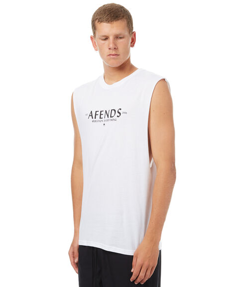 WHITE MENS CLOTHING AFENDS SINGLETS - 01-05-141WHT