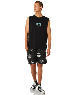 BLACK MENS CLOTHING AFENDS SINGLETS - M184086BLK