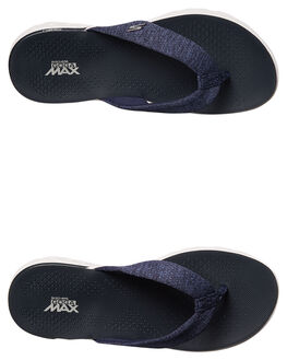 NAVY WHITE STRIPE WOMENS FOOTWEAR SKECHERS THONGS - 14656NVW