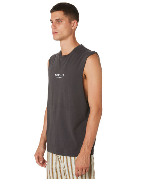 MERCH BLACK MENS CLOTHING THRILLS SINGLETS - TH9-107MBMCBLK