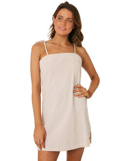 WHITE BROWN WOMENS CLOTHING RIP CURL DRESSES - GDRHF11196