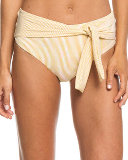 OCHRE STRIPES WOMENS SWIMWEAR ROXY BIKINI BOTTOMS - ERJX403671YHV7