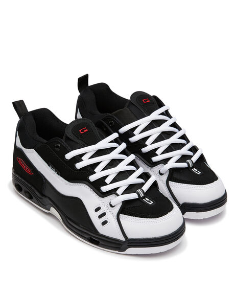 BLACK WHITE RED MENS FOOTWEAR GLOBE SKATE SHOES - GBCTIVCBKWHRD