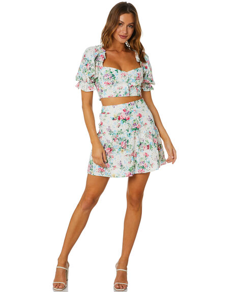 WHITE FLORAL WOMENS CLOTHING SNDYS SKIRTS - SFS006SWFLR