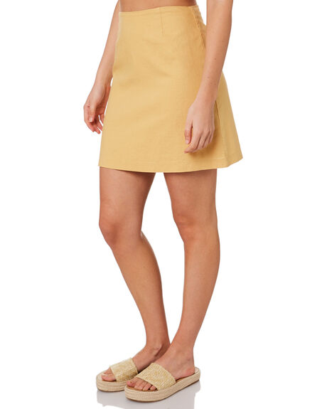 WASHED MUSTARD WOMENS CLOTHING NUDE LUCY SKIRTS - NU23747MUST