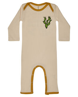 CREAM MUSTARD KIDS BABY ISLAND STATE CO CLOTHING - KEEPROLLNESIE-CRMNT