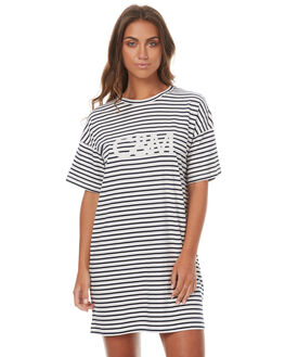 NAVY WHITE STRIPE WOMENS CLOTHING CAMILLA AND MARC DRESSES - PCMD1473NWS