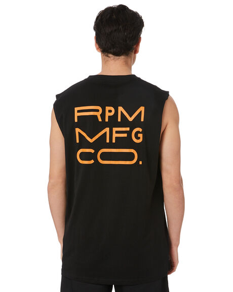 BLACK MENS CLOTHING RPM SINGLETS - 20PM09BBLK
