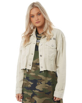 CREAM WOMENS CLOTHING STUSSY JACKETS - ST185700CRE
