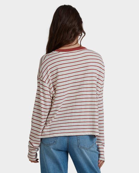 MARSALA KUTA STRIPES WOMENS CLOTHING ROXY TEES - URJZT03586-MPD9