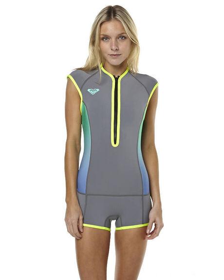 42e5c6c556 Roxy Syncro 1Mm Cap Sleeve Springsuit Wetsuit - Dark Gry Flro Lem ...