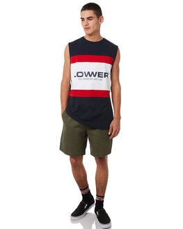 NAVY RED MENS CLOTHING LOWER SINGLETS - LO18Q3MSI02NVYR