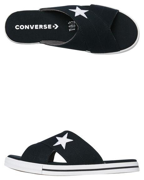 BLACK WHITE WOMENS FOOTWEAR CONVERSE SLIDES - 565527CBLKW