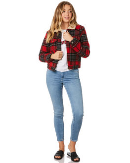 RED CHECK WOMENS CLOTHING WRANGLER JACKETS - W-951365-J04
