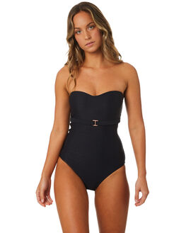 BLACK WOMENS SWIMWEAR JETS ONE PIECES - J10516BLK