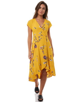 YELLOW COMBO WOMENS CLOTHING FREE PEOPLE DRESSES - OB7701137002