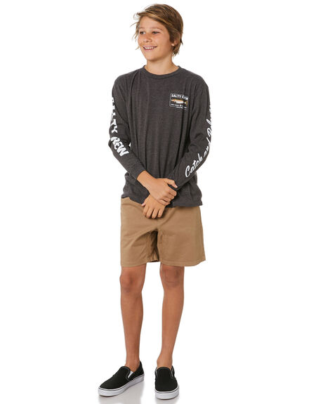 CHARCOAL HEATHER KIDS BOYS SALTY CREW TOPS - 20135208YCHARH