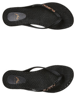 BLACK ROSE GOLD WOMENS FOOTWEAR RUSTY THONGS - FOL0125BK2