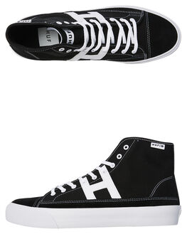 BLACK WHITE MENS FOOTWEAR HUF SKATE SHOES - VC00015BKWH