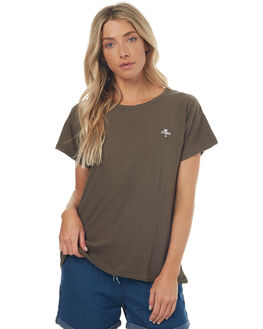 DUSTY OLIVE WOMENS CLOTHING THRILLS TEES - WTS7-103FDOLIV