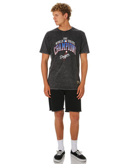 DODGERS WASH BLACK MENS CLOTHING MAJESTIC TEES - MLD7304DBBLK