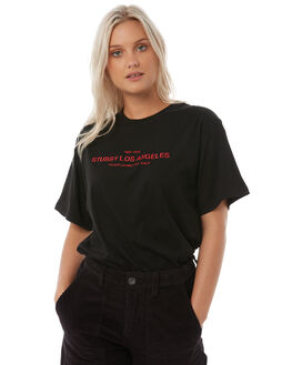 BLACK WOMENS CLOTHING STUSSY TEES - ST185019BLK