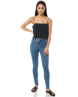 NAVY STRIPE WOMENS CLOTHING RVCA FASHION TOPS - R283182NAVY