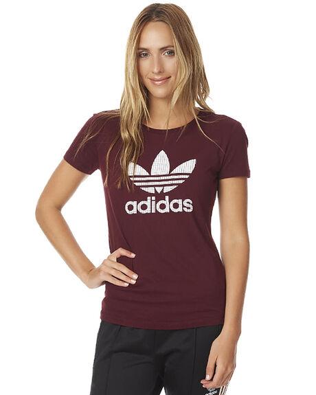b8556859 Adidas Originals Womens Trefoil Tee - Maroon | SurfStitch