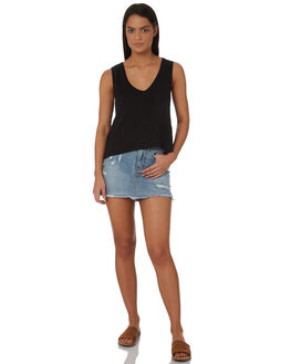 BLACK WOMENS CLOTHING RUSTY SINGLETS - TSL0539BLK