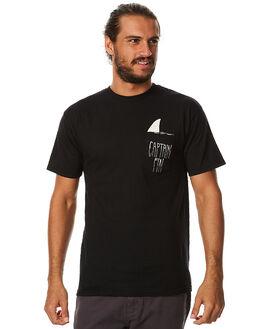 BLACK WHITE MENS CLOTHING CAPTAIN FIN CO. TEES - CFM3011601BWH
