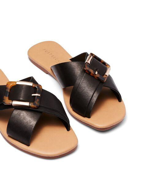 BLACK WOMENS FOOTWEAR JUST BECAUSE SLIDES - SOLE-JB0304BLK