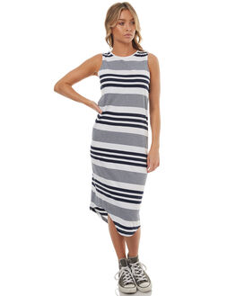 NAVY WHITE STRIPE WOMENS CLOTHING SILENT THEORY DRESSES - 6008019STR