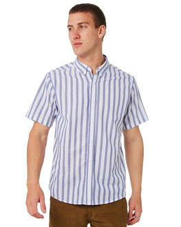 BLUE WHITE OUTLET MENS HUFFER SHIRTS - MSH84S3203BLUWHT