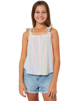 BLUE NEON STRIPE KIDS GIRLS EVES SISTER TOPS - 9920083BLSTR